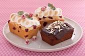 Mini cakes: chocolate cake and redcurrant cakes with meringue
