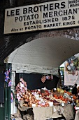 An entrance to a greengrocers