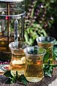 Peppermint tea in tea glasses