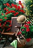 Rote Geranien (Pelargonium Zonale Hybr. Grenchen), und Goldmarie (Bidens Ferulifolia) neben einem Stuhl mit Strohhut auf einem Balkon