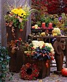 Herbstblumen in rostigen Vasen