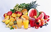 Various type of fruit juice and fresh fruit