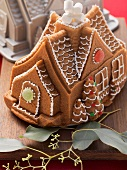 A gingerbread house with the baking tin in the background