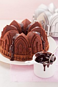 Espresso chocolate cake made using a cathedral-shaped baking tin