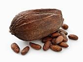 A cocoa pod and cocoa beans