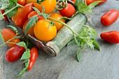 Verschiedene Tomaten mit Blättern