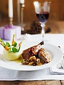 Glazed duck with stuffed kohlrabi and vegetables