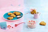 Cardamom biscuits and rose and pomegranate panna cotta