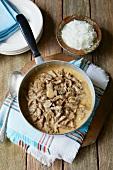Beef stroganoff in a saucepan