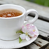 A cup of apple blossom tea