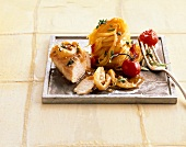 Lemon chicken with thyme and tagliatelle