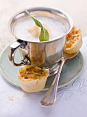 Cream of onion soup with mini vegetable strudel