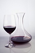 Red Wine in a Glass and Carafe
