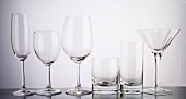 Various empty glasses