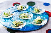 Courgette salad with wine jelly and pine nuts
