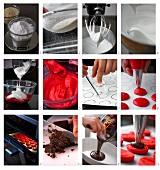 Himbeer-Schokoladen-Makronen herstellen