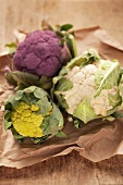 White, purple and green cauliflowers