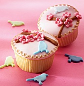 Cupcakes with spring decorations