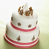 A two-tier Christmas cake