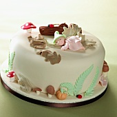 A cake decorated with marzipan