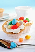 Cupcakes decorated with colourful sugar eggs
