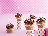 Chocolate cupcakes with candles