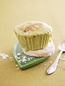An iced green tea cupcake