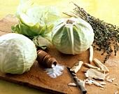 White cabbage, salt and horseradish