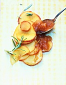 Peach and rosemary preserve with ingredients