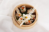 Vegetarian dim sum in a steamer basket