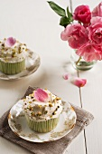 Frosted Cupcakes with Pistachios and Candied Rose Petals