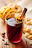 Mulled wine with cinnamon, oranges and cloves