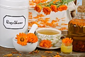 Marigold tea, marigolds, creme and oil