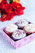 Four cupcakes for strawberry and blueberry frosting in a gift box