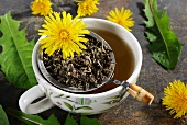 Dandelion tea, dandelion leaves and flowers