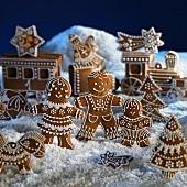 A gingerbread Christmas railway station scene