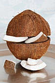 Split coconuts, close-up