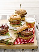 Barbecued hamburger with beer