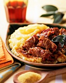 Involtini di carne con polenta (meat rolls with polenta)