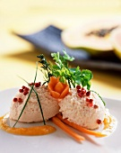 Salmon mousse with red pepper and herbs