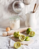 Ingredients for polenta tart with lime