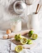 Zutaten für eine Polentatarte mit Limette