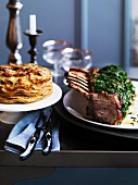 Roast rack of veal with potato and celeriac gratin
