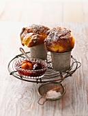 Pfitzauf (Swabian egg cakes) with plum compote