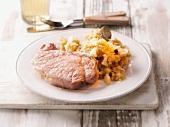 Gammon steak with sauerkraut