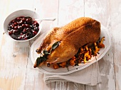 Roast duck with chanterelle mushrooms and cherry sauce