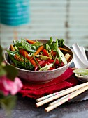 Steamed vegetables with oyster sauce
