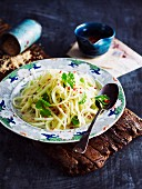 Green papaya salad with coriander leaves