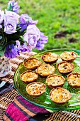 Crab, corn and tarragon tartlets