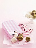 Truffle pralines with pistachios and coconut for Mother's Day